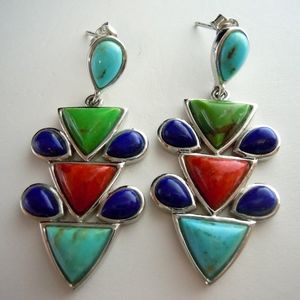 Navy, Green, Red, Turquoise 925 SS Post Earrings